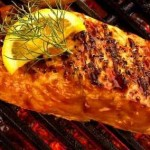 Grilled Vino Kissed Salmon Steak