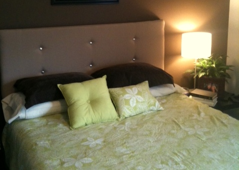 How to make a contemporary upholstered headboard for under How to make your own headboard