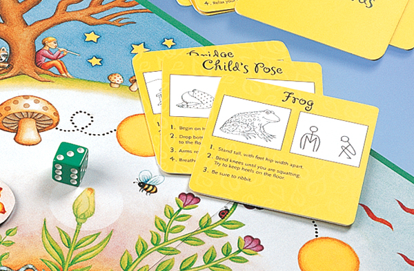 Players Use A Bumble Bee Marker To Move Around The Board. The Players Also  Take Turns Learning And Inventing New Yoga Poses On Their Journey.