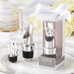 """LOVE"" Chrome Pourer/Bottle Stopper for Your Wedding"