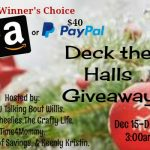 $40 Deck the Halls Amazon GC/PayPal Giveaway (ends 12/24 at 3am Est)