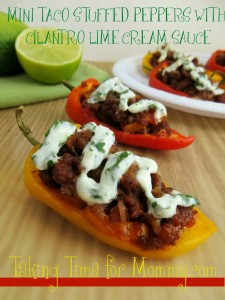 MINI TACO STUFFED PEPPERS WITH CILANTRO LIME CREAM SAUCE
