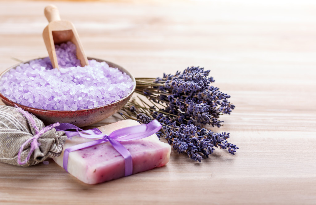 Homemade soap with lavender flowers and bath salt