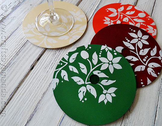 Stenciled CD DVD Coasters