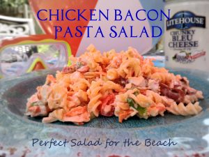 Perfect Salad to Take to the Beach Chicken Bacon Pasta Salad #SeeTheLite #Giveaway