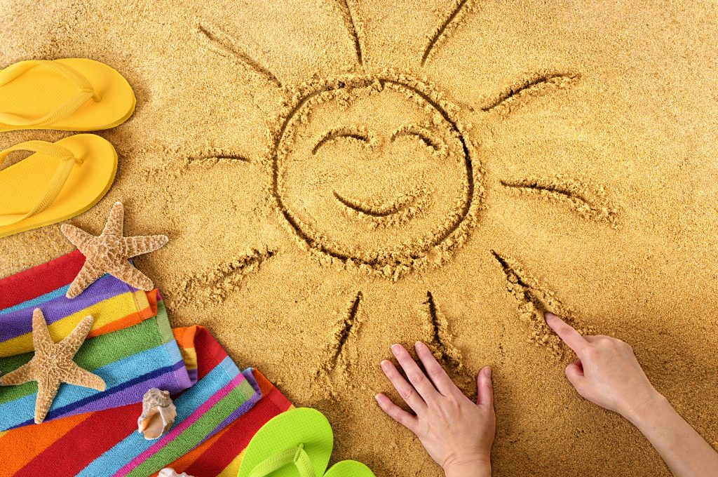 Summer beach smiling face sun