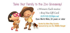 Take Your Family to the Zoo Giveaway 2 Winners each Win a $125 Visa GC