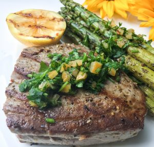 Grilled Tuna Steaks with Preserved Lemon Gremolata