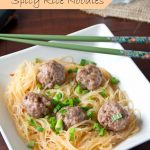 Asian Meatballs w/ Spicy Rice Noodles